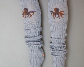 Octopus / Yoga socks / dance socks / leg warmers / boot socks Grey very long hand painted Accessories Women Octopus clothing legwear