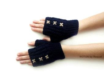 Short Dark Blue Fingerless Knit Gloves