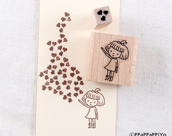 40% OFF SALE Girl and Heart Rubber Stamp