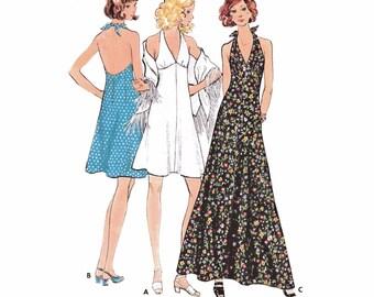 "1972 Vintage Empire Halter Dress, V Neck High Waist Halter Dress, Knee length, Mini or Maxi, Fringed Shawl, Butterick 6634, Bust 32 1/2"""