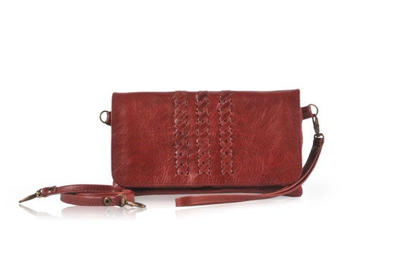 MAYA. Cognac leather bag / phone wallet / small bag / evening