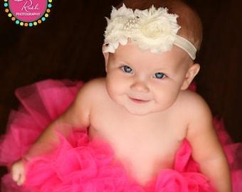 10% off Ivory headband baby  - ivory shabby headband -  ivory headband - headband - infantgirl headband - girl headband - headband baby