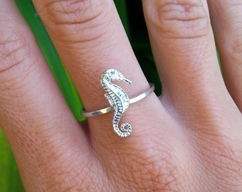 Seahorse Ring, Sterling Silver Ring, Nautical Jewelry, Ocean, Sea Life