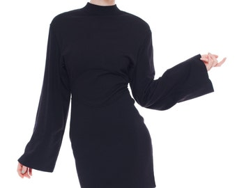 1980s Vintage Playful Black Wide-Arms Dress by Alaia  Size: S/M