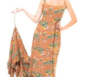 1950s Vintage Pretty Tan Tropical Print Vintage Hawaiian Wedding Dress with Train  Size: S/M/L