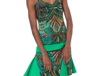 1970s Vintage Amazing Bohemian Flapper Green Jungle Print Dress  Size: S/M