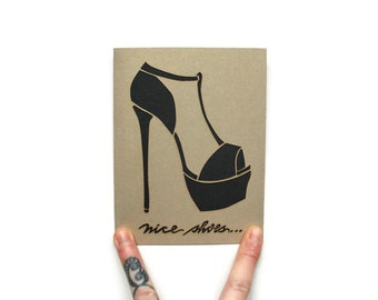 "Funny Valentine Card: ""Nice shoes"" laser cut card--ADULT CONTENT--Valentine's Day Card"