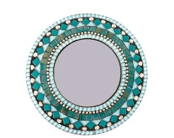 Round Aqua, Silver, Black Mosaic Wall Mirror