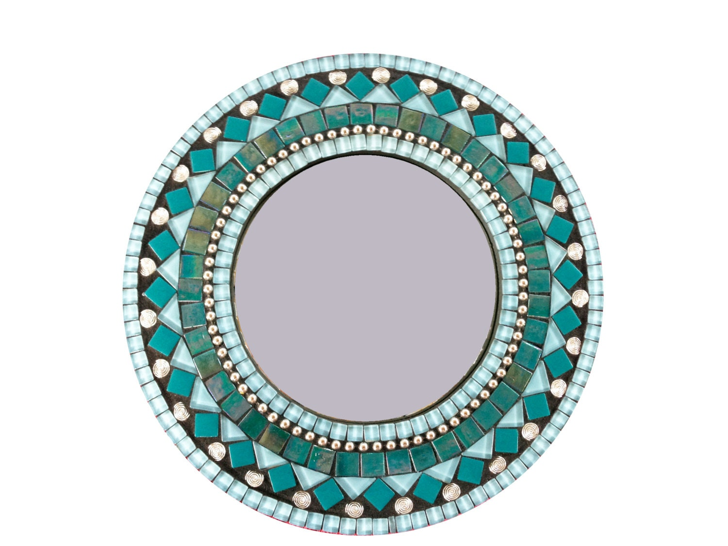 Round Wall Mirror In Aqua Turquoise Teal Mosaic Mirror
