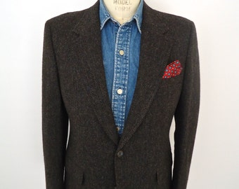 Bill Blass Charcoal Tweed Sport Coat / vintage gray herringbone wool suit jacket / men's 42 R