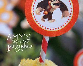 Donkey Kong DIY Printable Party 2 inch Cupcake Circles Toppers
