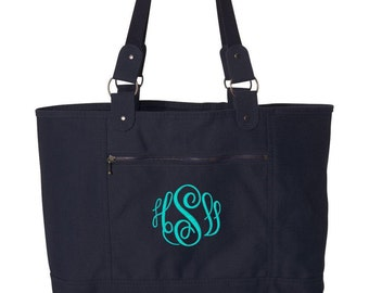 Tote Bag - Navy Canvas, medium size, light weight, personalized
