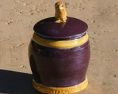 Purple Trinket Jar with golden bands and owl knob - hand thrown stoneware pottery, home decor, kitchenware