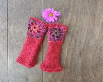 Fingerless Gloves, Red Gloves, Hand knitted gloves, Crochet gloves, Valentine's Gift, Women's Accessories, Birthday, Gift for her, Under 35