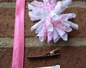 Pink Plaid Korker Hair Bow