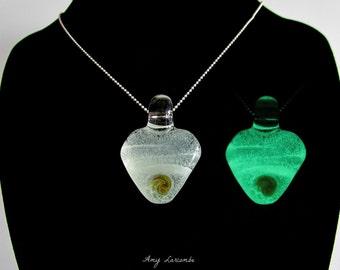 Glass Pendant  Glow in the Dark Magic Gem