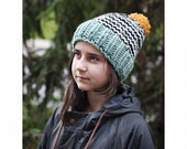 chunky knitted hat, giant pompom, teen or adult, choose your colors
