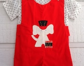 Vintage Red Boys Romper with Elephant Drummer- Size 18 Months- New, never worn