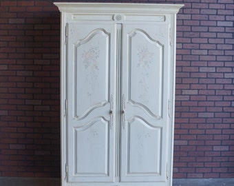 Armoire / Wardrobe / TV Cabinet / Country French Hand Painted Armoire by Ethan Allen
