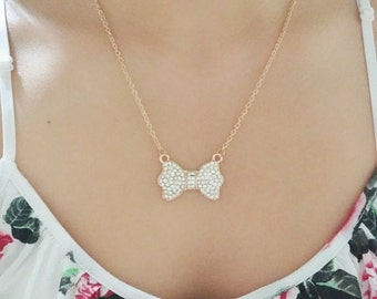 Large Rhinestone Bow Necklace Pretty Cute Statement Gold