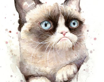 Grumpy Cat Watercolor Art Print, Painting, Animal Portrait, Giclee, Meme