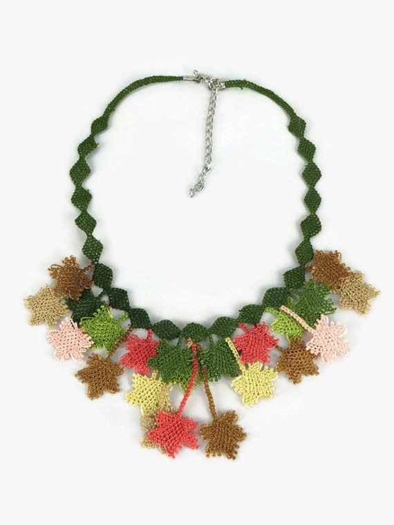 Crocheted Leaves Choker Necklace - Fall Colors - Turkish Oya Jewelry - Multicolor Statement Necklace - Tatted Lace Jewelry
