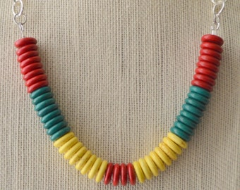 Red, Yellow and Green Beaded Necklace