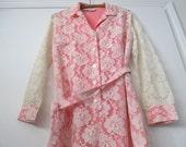 Rose Pink LACE DRESS vintage 1960s 70s size 8 Womens Retro Floral trending color rose quartz