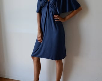 Dusty blue dress, stretch knit jersey, midi length. Gatsby kimono sleeves. One size fits many.