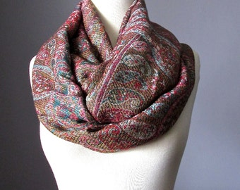 Paisley scarf, Brown scarf, chunky scarf, infinity scarf, Christmas gift