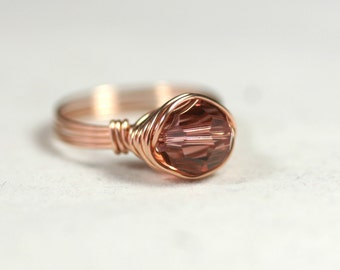 Rose Gold Swarovski Crystal Ring Wire Wrapped Jewelry Handmade Rose Gold Ring Pink Gold Ring Marsala Ring Swarovski Crystal Jewelry