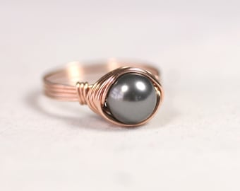 Rose Gold Dark Grey Pearl Ring Wire Wrapped Jewelry Handmade Rose Gold Ring Rose Gold Jewelry Grey Ring Pink Gold Ring Pink Gold Jewelry