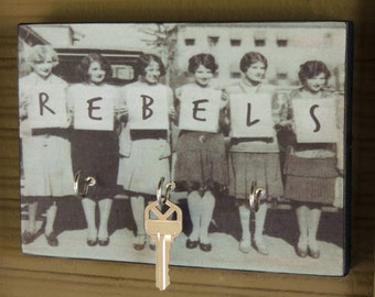 "Key Holder REBEL LADIES of the 1920's Key Holder & Wood Mounted Wall Art. 5.5"" x 8""  A Gift for Your Sister, BFF or Partner in Crime."