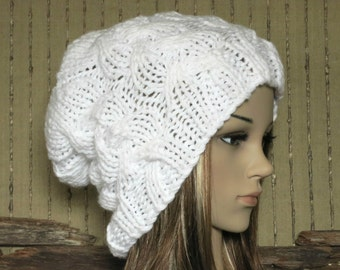 Womens Knit Hat, Cable Slouchy Beanie, Chunky White Hand Knit Beanie, Warm Wool Hat, Winter Fall Accessories