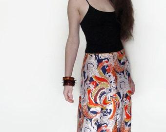 60's Maxi Skirt Wild Print