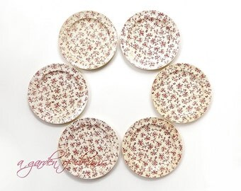 Antique plates Set of 6 small country farmhouse cranberry calico Crysanthemum pattern primitive kitchen transferware cottage English c 1860