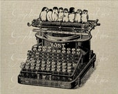 Antique typewriter Row of birds Instant digital download image for iron on fabric transfer burlap decoupage pillow card tote No. gt127