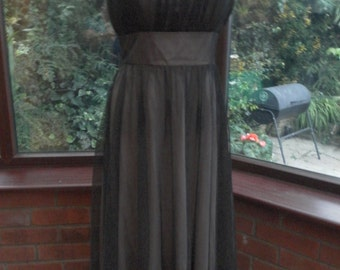 lovely lined chiffon and satin grecian style dress evening prom party evening dress all lined uk size10 usa size8