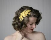 "Gold Leaf Headband, Leaves Headpiece, Lamé Fascinator, Autumn Hair Accessory, Fall Hairpiece - ""Golden Orchard"""