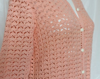 Crochet cardigan peach hand knit buttons up front vintage cotton knit long sleeved  gift for her Medium