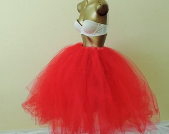 Adult red tea length tutu ,  sewn tutu, red tutu, wedding bridal tulle skirt, prom tutu skirt, steampunk, goth fantasy fashion