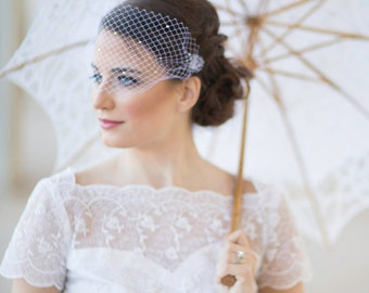 Small birdcage veil with crystals, bridal bandeau veil,  all over crystals, mini Venetian wedding veil Style 608