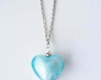 Blue Murano glass silverfoil heart pendant necklace - Murano glass heart pendant -  blue pendant necklace - silver link chain