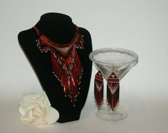 Elegant Low hanging Holiday Black, Silver, and Red Dangle Choker Set Native American Style  -  Free Shipping in US