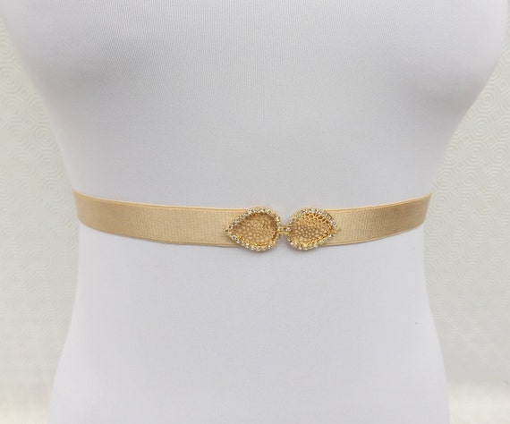 Champagne Elastic Waist Belt. Gold rhinestone leaf buckle. Nude Belt. Bridal/ Bridesmaid Wedding Belt.