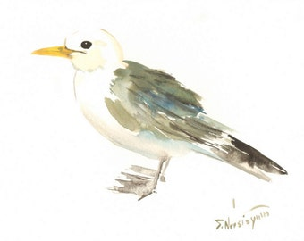 Seagull, 12 X 9 in, original watercolor painting, seagull wall art