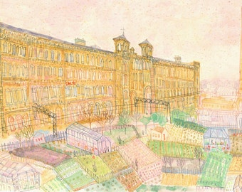 SALTS MILL SALTAIRE Yorkshire Art, Signed Limited Edition Print, Watercolour Painting by Clare Caulfield, Allotment Drawing Bradford England