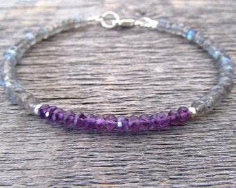 February Birthstone Bracelet, Amethyst Bracelet, Labradorite Bracelet, Amethyst Jewelry, Labradorite Jewelry, Gemstone Bracelet, Women Gift