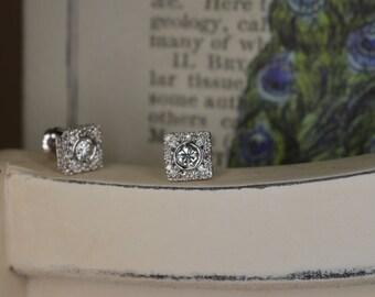 Art Deco-Inspired Diamond Earrings (14K White Gold)