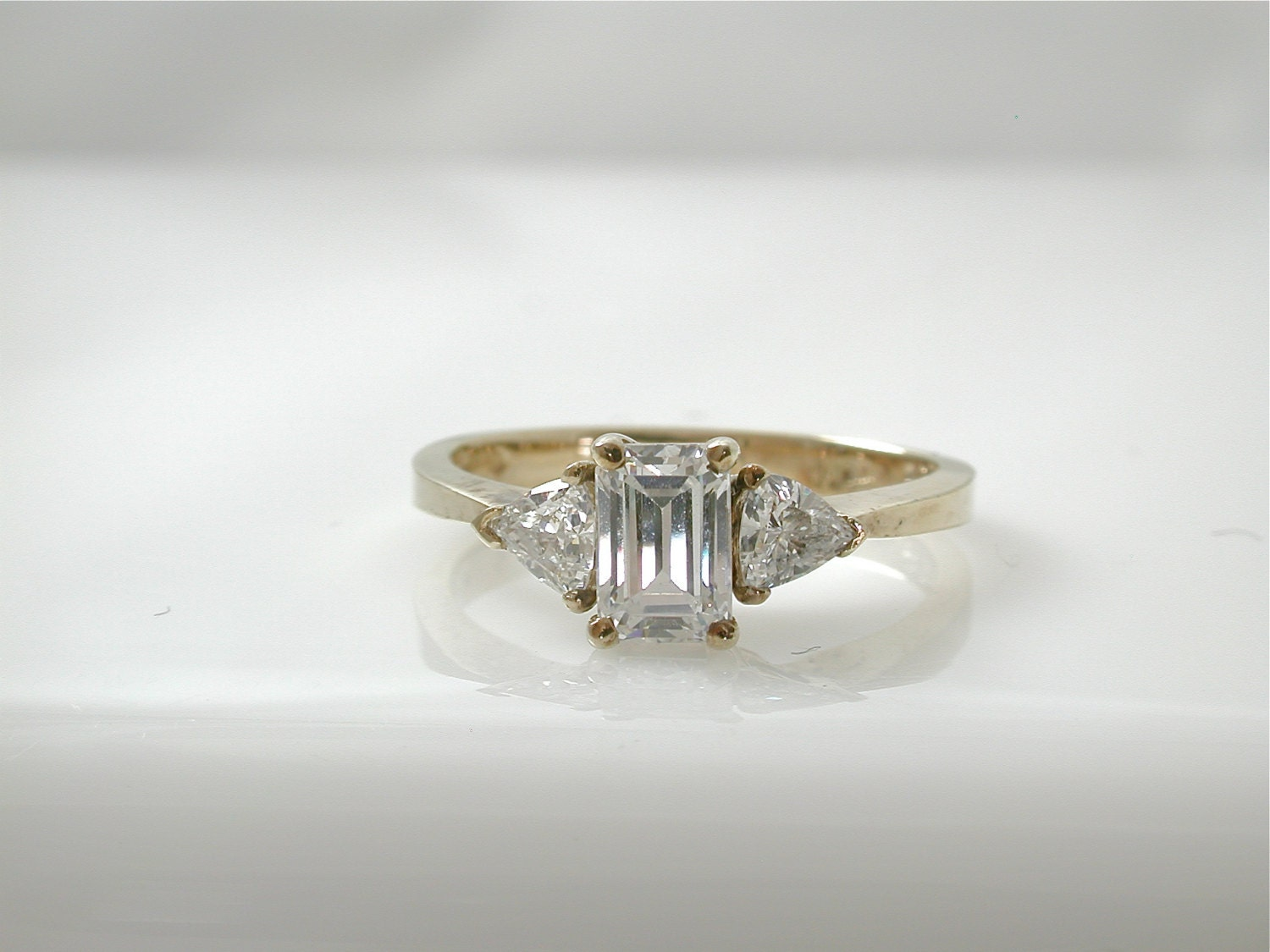 emerald cut cubic zirconia ring trillion cut by djvintageshop